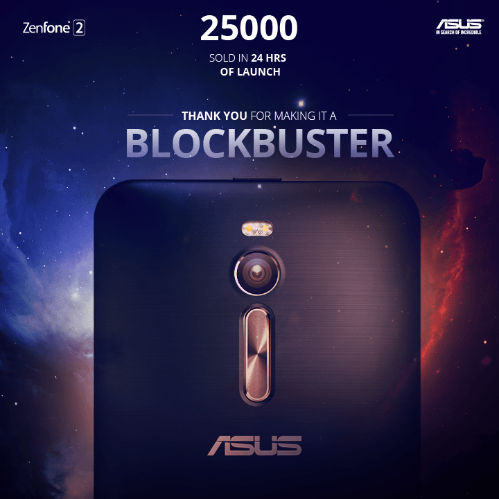 25000 units of Asus Zenfone 2 sold