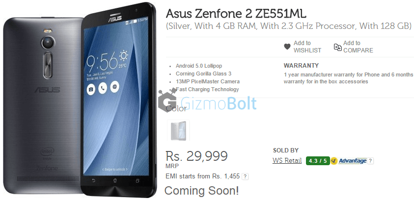 Asus Zenfone 2 128 GB ZE551ML With 4 GB RAM and 2.3 GHz Processor 64-bit CPU