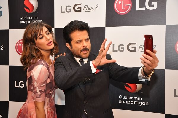 Nargis Fakhri and Anil Kapoor with LG GFlex2