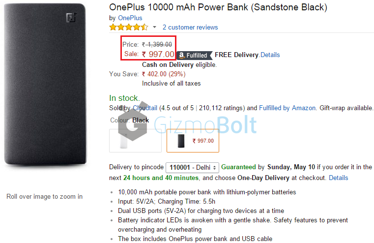 OnePlus 10000 mAh Power Bank Price in India Rs 997