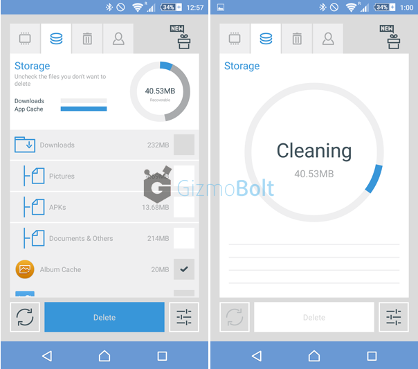 The Cleaner app Cleaning Storage Cache