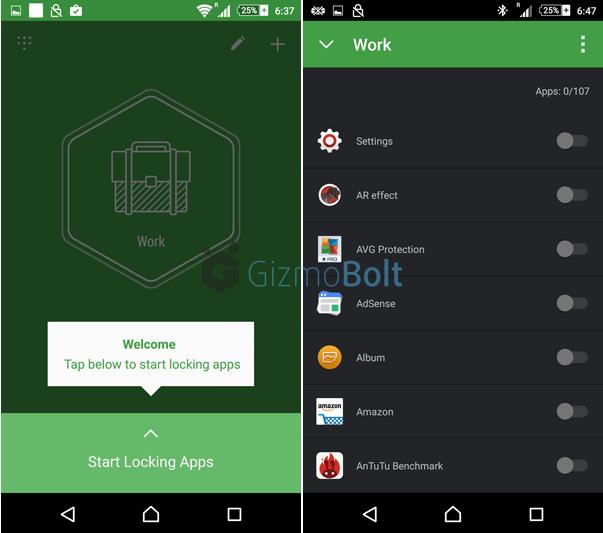 How to set lock on app in Hexlock app