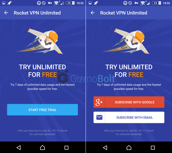Rocket VPN app Premium Account Trial for 7 Days