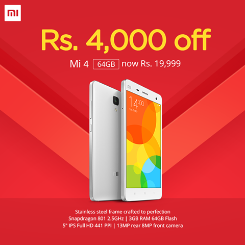 Xiaomi MI 4 64GB priced at Rs 19999 in India