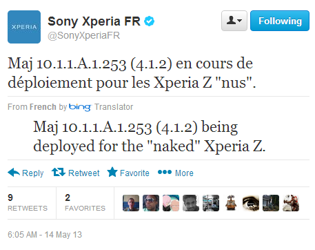 sony xperia france tweets about jelly bean android 412