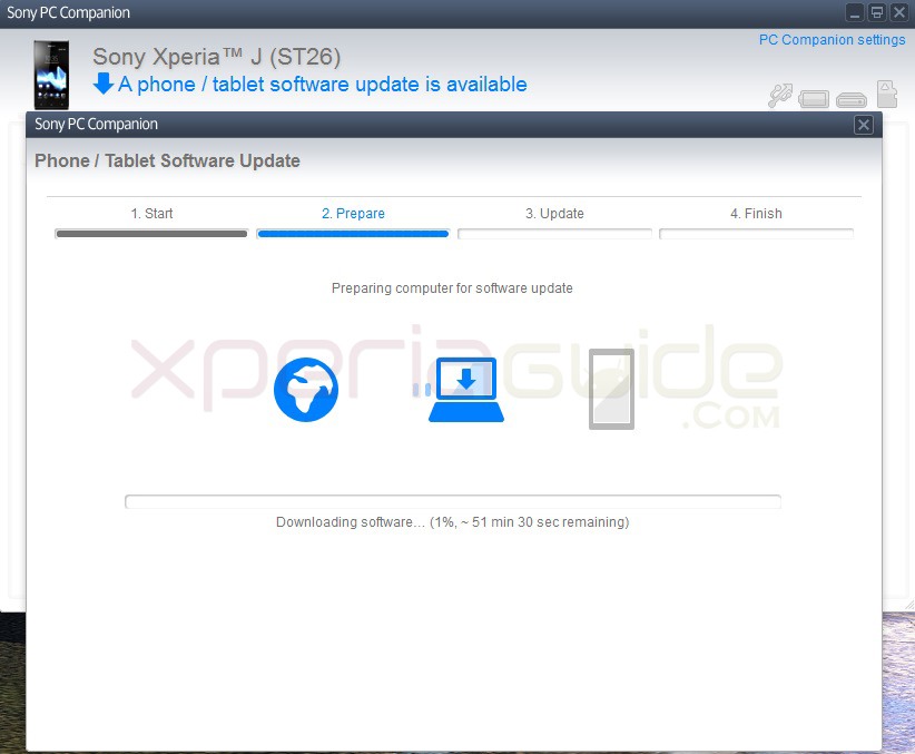 Xperia J ST26i Jelly Bean 11.2.A.0.31 firmware update via PC Companion
