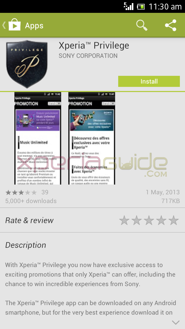 Xperia Privilege App Version 2.0 Update