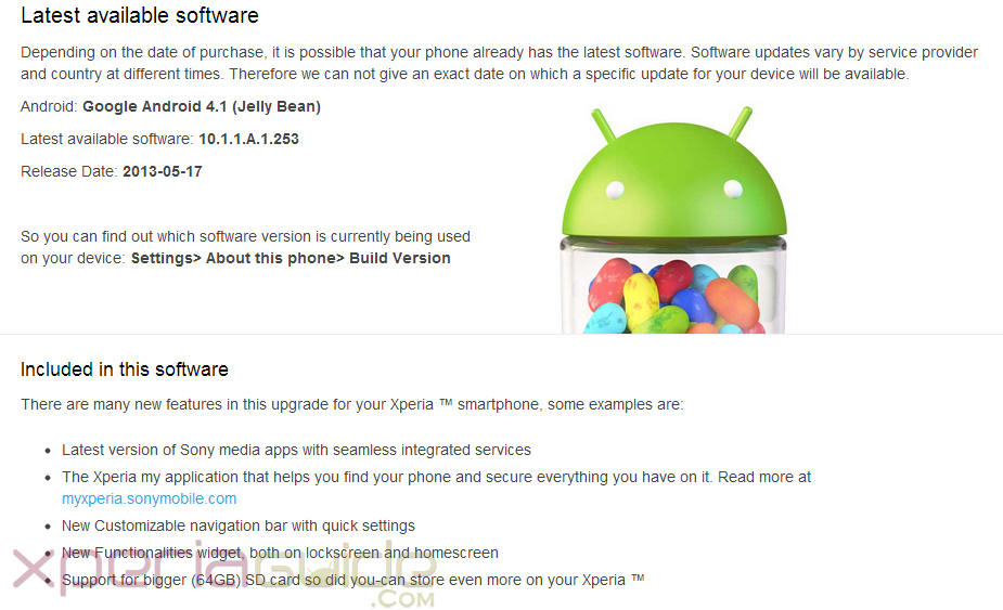Android 4.2.2 Jelly Bean has also been listed for Xperia Z C6603