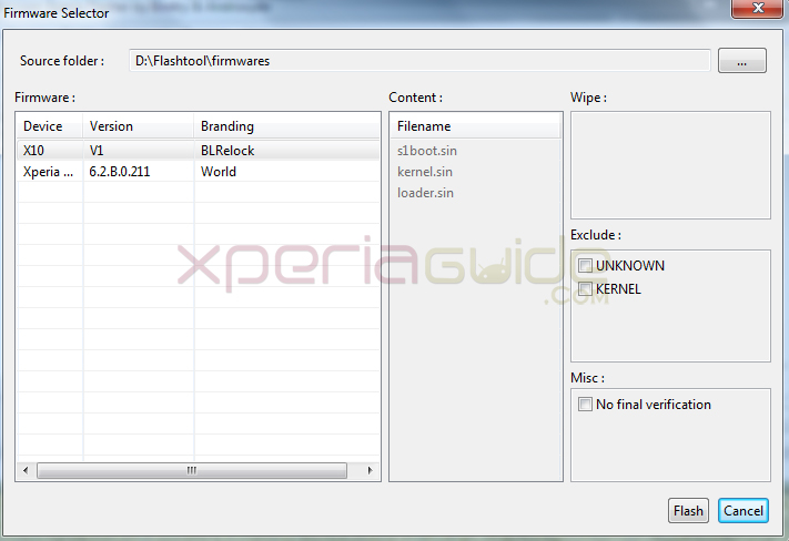 Choosing firmware for flashing  6.2.B.0.211  Jelly Bean firmware in Xperia SL Lt26ii