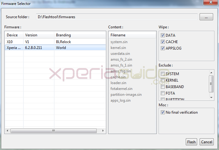 Choosing firmware for flashing  6.2.B.0.211  Jelly Bean firmware in Xperia SL