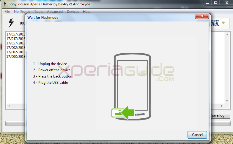 Conencting Phone Xperia SL LT26ii for flashing 6.2.B.0.211 fimrware