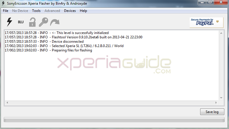 Prepare flashing  6.2.B.0.211  Jelly Bean firmware in Xperia SL Lt26ii