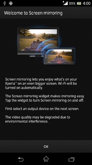 Screen Mirroring in Xperia Z C6603 Android 4.2.2 Jelly Bean 10.3.X.X.XXX firmware