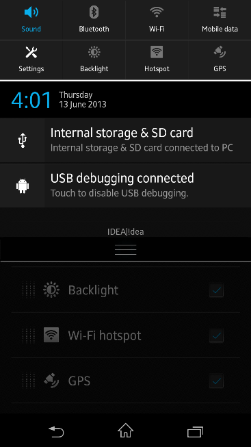 Qucik Settings Menu in Xperia Z C6603 Android 4.2.2 Jelly Bean 10.3.X.X.XXX firmware