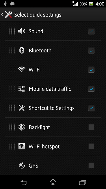 Qucik Settings options in Xperia Z C6603 Android 4.2.2 Jelly Bean 10.3.X.X.XXX firmware