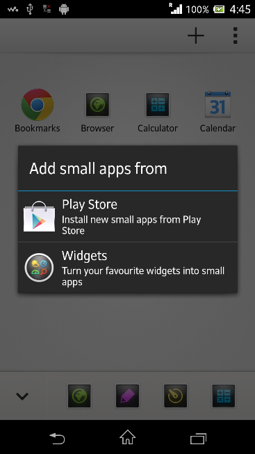 Small apps options in Xperia Z C6603 Android 4.2.2 Jelly Bean 10.3.X.X.XXX firmware