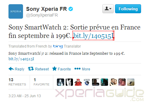 Sony SmartWatch SW2 Price €199 in France - Europe