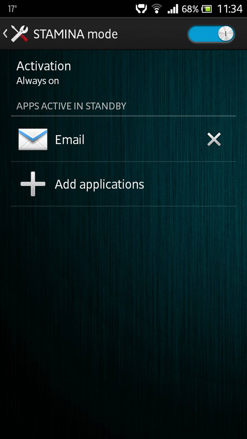 Stamina Mode Settings in Xperia S