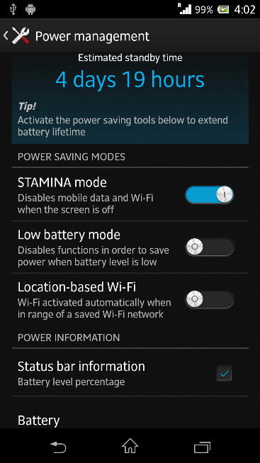 Stamina Mode in Xperia Z C6603 Android 4.2.2 Jelly Bean 10.3.X.X.XXX firmware