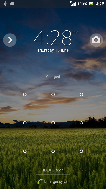 Time Clock Lock Screen in Xperia Z C6603 Android 4.2.2 Jelly Bean 10.3.X.X.XXX firmware