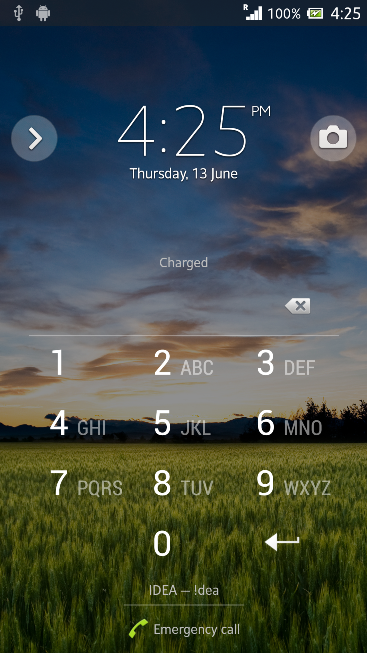 Transparent Dial Pad in Lock Screen in Xperia Z C6603 Android 4.2.2 Jelly Bean 10.3.X.X.XXX firmware