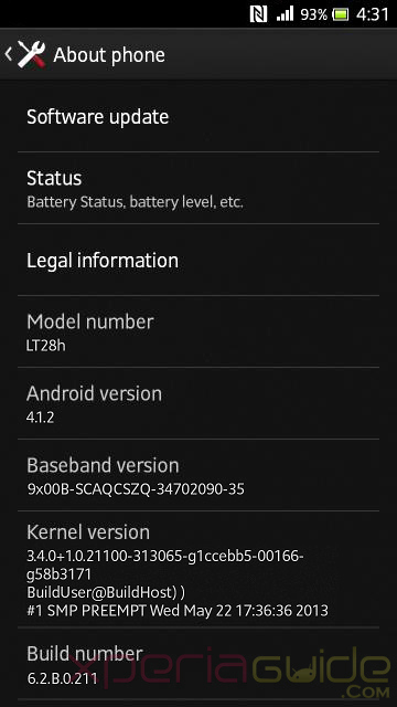 Xperia Ion LT28i  LT28h Android 4.1.2 Jelly Bean 6.2.B.0.211 firmware details