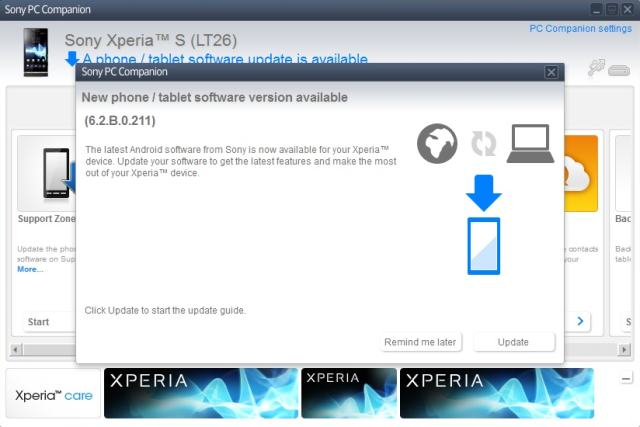 Xperia S LT26i to Android 4.1.2 Jelly Bean 6.2.B.0.211 firmware update via PC Companion software