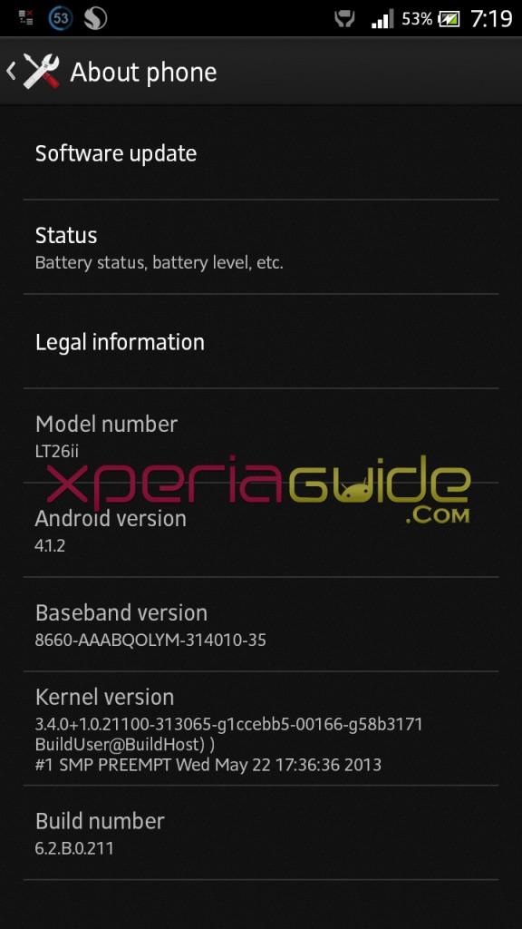 Xperia SL LT26ii Jelly Bean 6.2.B.0.211 firmware details INDIA