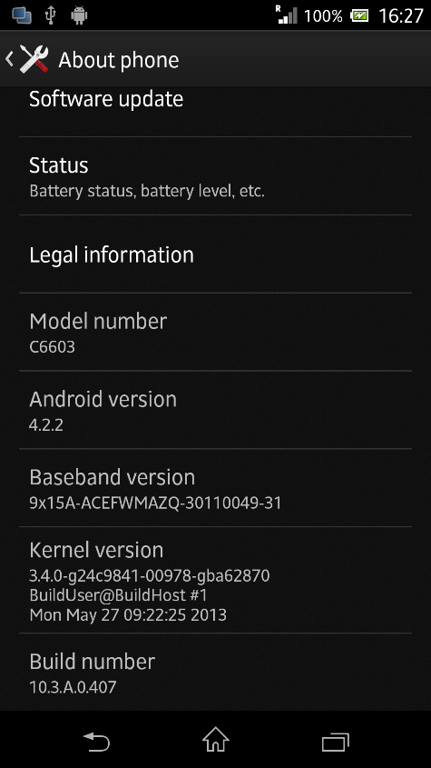 Xperia Z C6603 Android 4.2.2 Jelly Bean 10.3.A.0.407 firmware details