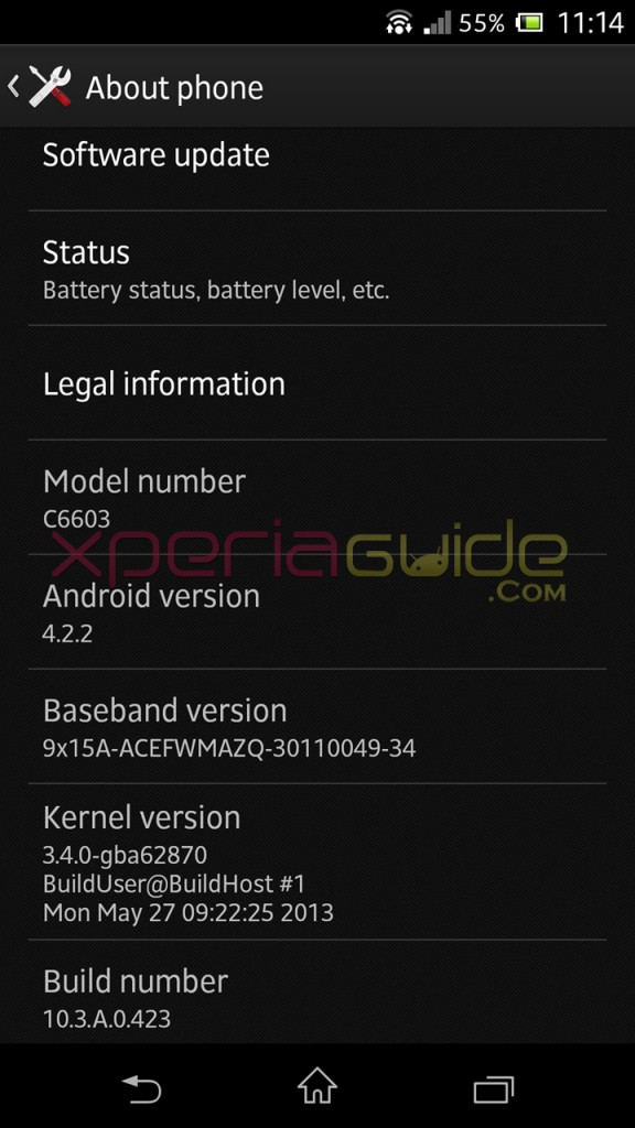 Xperia Z C6603 Android 4.2.2 Jelly Bean 10.3.A.0.423 firmware details