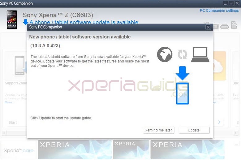 Xperia Z C6603 Android 4.2.2 Jelly Bean 10.3.A.0.423 firmware update via PC Companion (2)