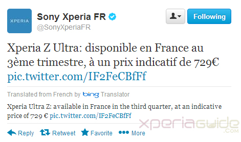 Xperia Z Ultra Price €729 in France - Europe