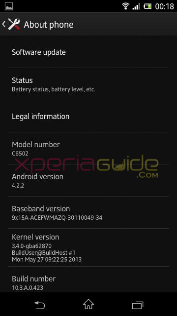 Xperia ZL C6502 Android 4.2.2 Jelly Bean 10.3.A.0.423 firmware About Phone details