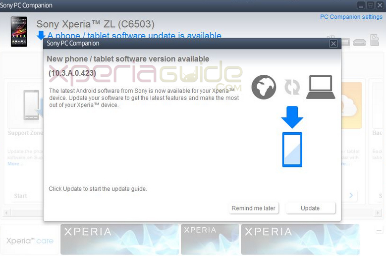 Xperia ZL C6503 Android 4.2.2 Jelly Bean 10.3.A.0.423 firmware update via PCC