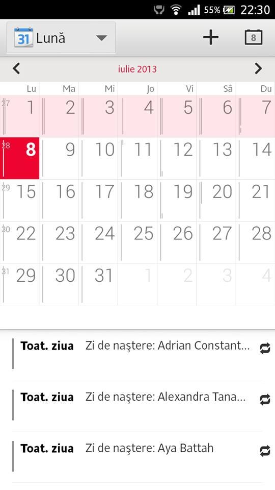 Calendar app of Xperia Honami on Xperia S SL
