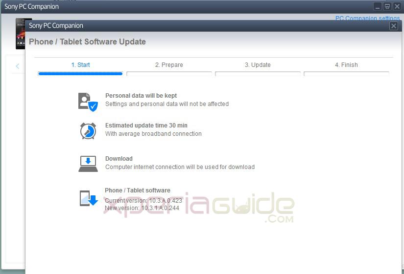 Download Xperia Z C6602 10.3.1.A.0.244 firmware update via PC Companion