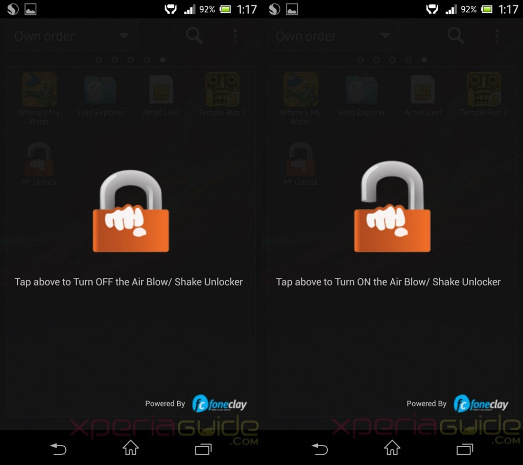 How to activate Canvas 4 Air Blow Shake Unlocker App on Xperia Z C6602