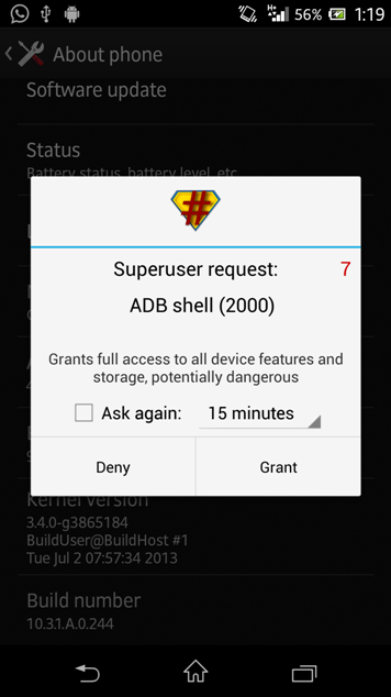 Root Xperia Z Android 4.2.2 10.3.1.A.0.244 firmware  by DooMLoRD Easy Rooting Toolkit v18