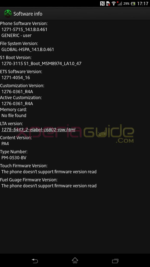 Software info of Xperia Z Ultra C6802 Android 4.2.2 14.1.B.0.461 firmware
