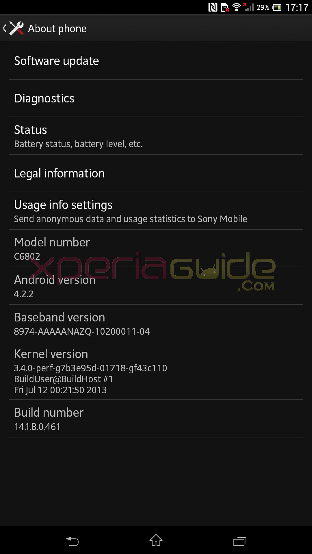 Sony Xperia Z Ultra C6802 Android 4.2.2 14.1.B.0.461 firmware Details