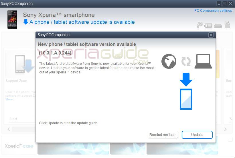 Xperia Z C6602 10.3.1.A.0.244 firmware update via PC Companion