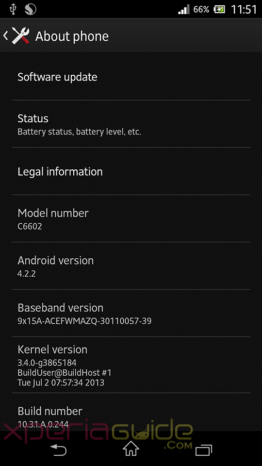 Xperia Z C6602 Android 4.2.2 10.3.1.A.0.244 firmware details