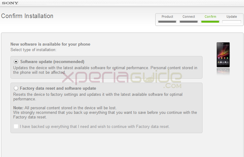 Xperia Z C6602 Android 4.2.2 10.3.1.A.0.244 firmware update via SUS Sony Update Service