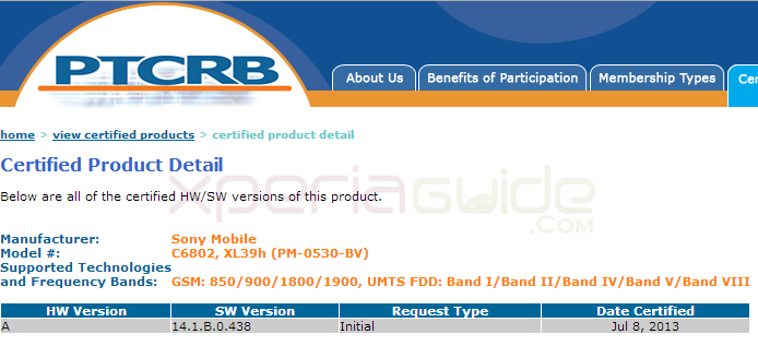 Xperia Z Ultra C6802, XL39h Jelly Bean Android 4.2.2 14.1.B.0.438 firmware certified by PTCRB