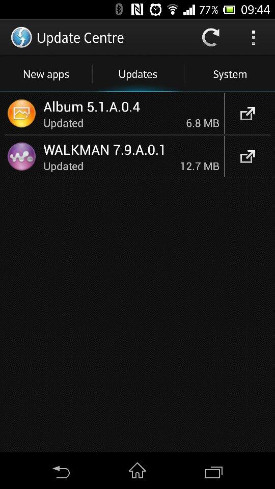 Xperia Z Walkman 7.9.A.0.1 Album 5.1.A.0.4 app OTA Update