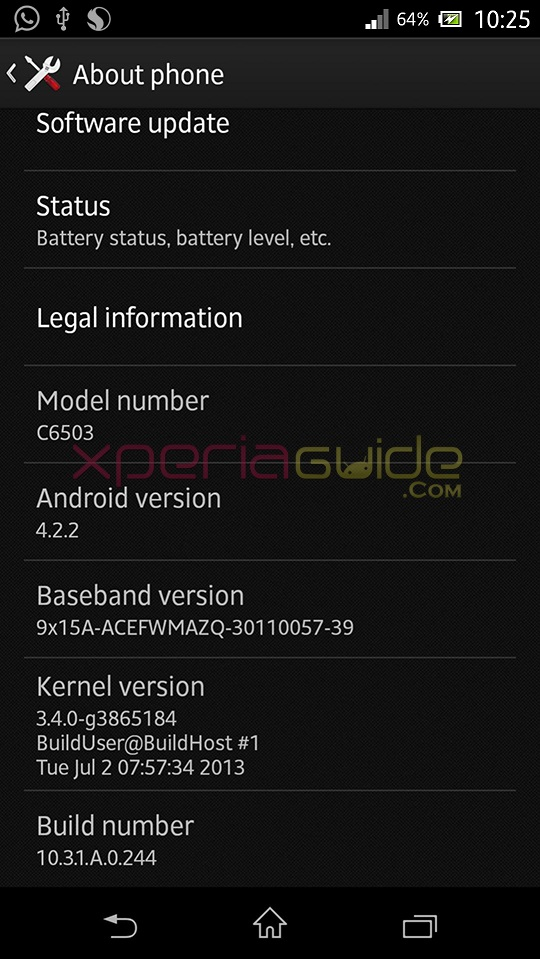 Xperia ZL C6503 Android 4.2.2 10.3.1.A.0.244 firmware details