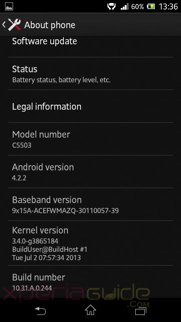 Xperia ZR Android 4.2.2 10.3.1.A.0.244 firmware update