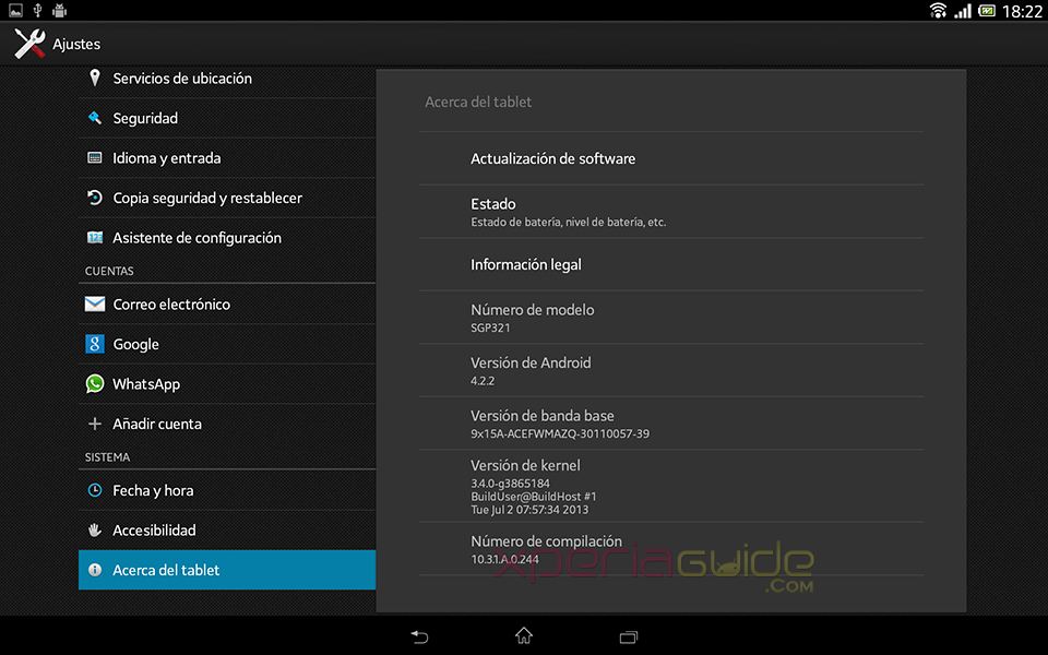 About Phone Screenshot - Xperia Tablet Z SGP321 Android 4.2.2 10.3.1.A.0.244 firmware
