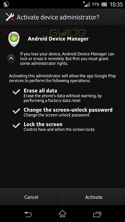 Android Device Manager Rolling for Xperia Phones - Out for Xperia Z