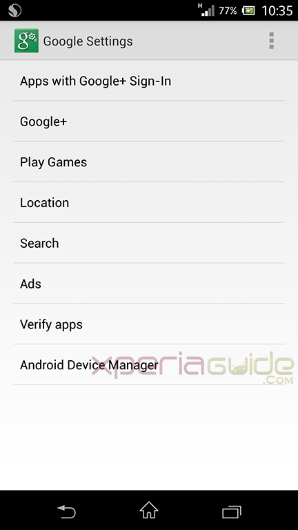 Android Device Manager in Google Settings Option